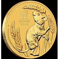 PM Lunar 3 Mouse 1/2 oz GOLD 2020 BU $50 Australia