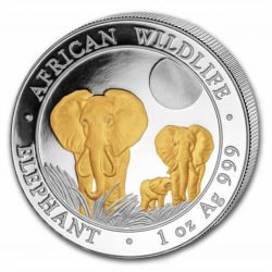 1 oz silver ELEPHANT 2014 Gilded