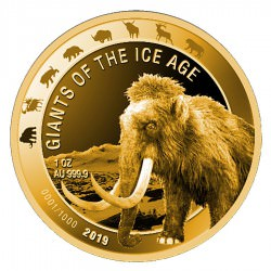 Ghana 1 oz GOLD GIANTS of the ICE AGE 2019 MAMMOTH 500 Cedis