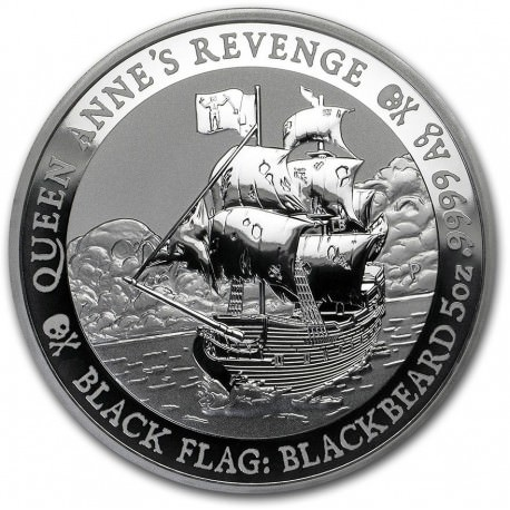 PM Tuvalu 5 oz silver BLACK FLAG 2019 Queen Anne's Revenge $5