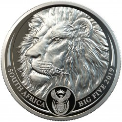 South Africa 1 oz platinum BIG FIVE 2019 LION PROOF Box + Coa 20 Rand