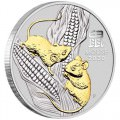 PM Australian Lunar Series III 2020 Year of the Mouse 1oz Silver Gilded Coin