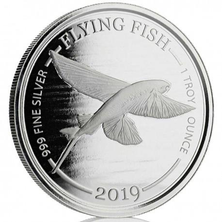 1 o silver FLYING FISH 2019 Barbados $1