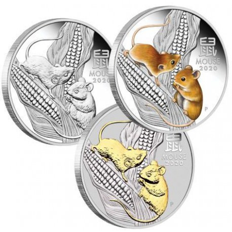 Australian Lunar Series III 2020 Year of the Mouse 1oz Silver Trio