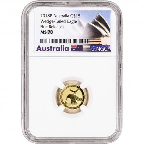 1/10 oz gold WEDGE-TAILED EAGLE 2018P NGC MS70
