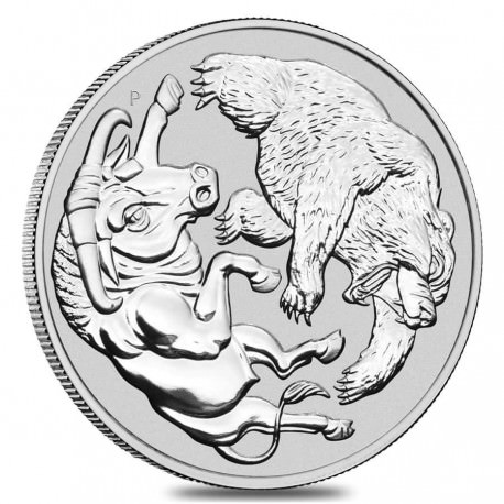 Perth Mint 1 oz silver BEAR & BULL 2020 Australia $1