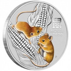 PM Lunar 3 Mouse 5 oz silver 2020 BU COLOURED $5 Australia