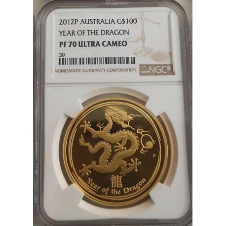 Perth Mint 2012 $100 Year of the Dragon 1 oz gold Proof NGC MS70 ULTRA CAMEO Box + Coa