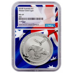PM Australian Wedge-tailed Eagle 2018 1oz silver $1 Coin NGC69 US FLAG
