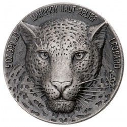 2018 Ivory Coast Big Five Leopard HR 5 oz. Silver CFA 5000 Mauquoy Haute Box + coa