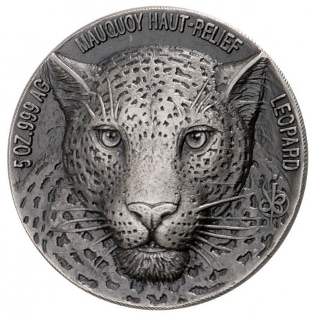 2018 Ivory Coast Big Five Leopard HR 5 oz. Silver BU CFA 5000 Mauquoy Haute Box + coa