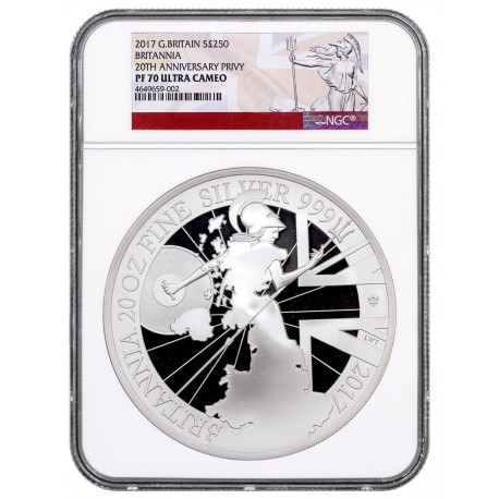 GB 20 oz silver BRITANNIA 2017 PROOF NGC PF70 UC Box + coa