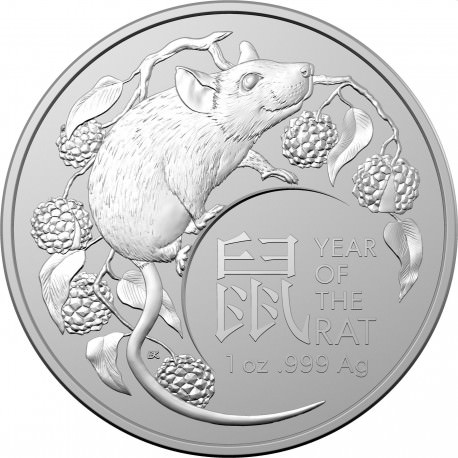 2020 Perth Mint  Australia 5 oz .999 Silver Lunar Year of the Mouse in OGP Case!