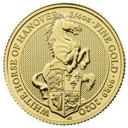 U.K. 1/4 oz gold QUEEN'S BEAST 2020 The WHITE LION of MORTIMER £25