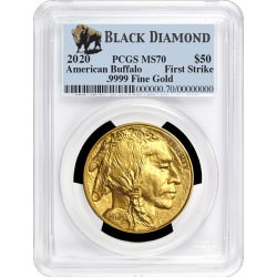 GOLD 1 oz GOLD US BUFFALO 2020 PCGS MS70 First Strike Black Diamond $50