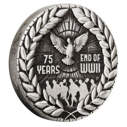 End of WWII 75th Anniversary 2020 2oz Silver Antiqued Coin