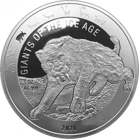Ghana 1 oz silver GIANTS of the ICE AGE 2019 GIANT DEER 5 Cedis