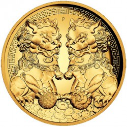 PM 2 oz gold GUARDIAN LIONS 2020 $200 DOUBLE PIXIU HIGH RELIEF proof