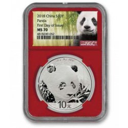 30 GR SILVER PANDA 2018 Yuan 10 ngc MS-70 First Day fo Issue