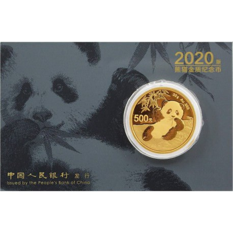 Gold CHINA PANDA 30 GR 2020 Yuan 500 in card