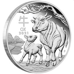 SILVER Australian Lunar Series III 2021 Year of the Ox Silver Proof $1