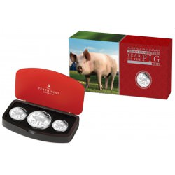 Australian Lunar Series II 2019 Year of the Pig Silver Proof Coins 3-Coin Set