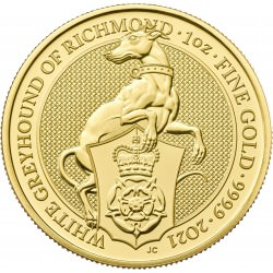 U.K. 1 oz gold QUEEN'S BEAST 2021 The WHITE GREYHOUND OF RICHMOND £100