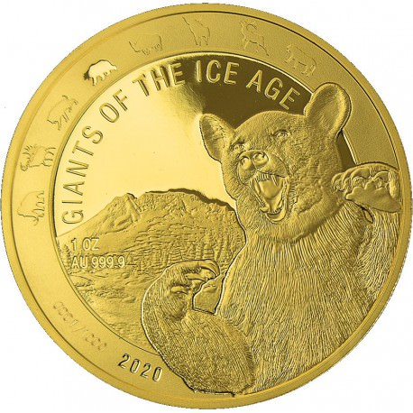 Ghana 1 oz GOLD GIANTS of the ICE AGE 2020 SABER TOOTH CAT 500 Cedis