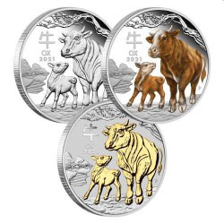 Australian Lunar Series III 2021 Year of the Ox 1oz Silver Trio