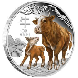 Australian Lunar Series III 2021 Year of the Ox 1oz Silver Proof Coloured Coin