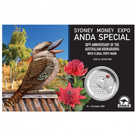 Melbourne Money Expo ANDA Special 30th Anniversary Kookaburra 2020 1oz Silver Coin with Pink Common Health Privy