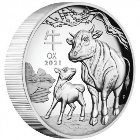 Australian Lunar Series III 2021 Year of the Ox 1oz Silver Proof High Relief Coin