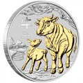 Australian Lunar Series III 2021 Year of the Ox 1oz Silver Gilded Coin