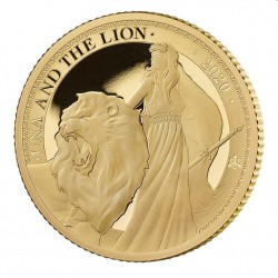 ST HELENA 1/4 oz GOLD UNA and the LION 2020 £2 PROOF