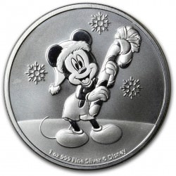 NIUE 1 oz silver Mickey Mouse CHRISTMAS 2020 $2