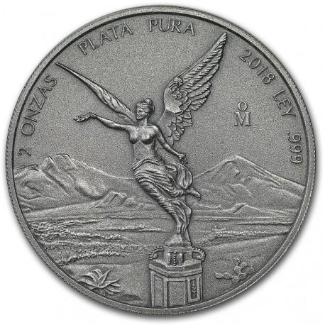 Mexico 2 oz silver LIBERTAD 2018 ANTIQUED