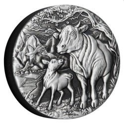 PERTH MINT PM Australian Lunar Series III 2021 Year of the Ox 2oz Silver Antiqued Coin