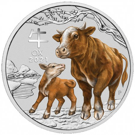 PM Lunar 3 OX 2 oz silver 2021 BU $2 Australia Coloured