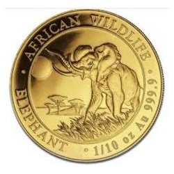 1/10 oz gold SOMALIA ELEPHANT 2016