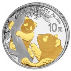 China 30 GR silver PANDA 2021 gilded Y10