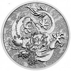 PM 1 oz silver SINGLE DRAGON 2021 $1 bu CHINESE MYTHS & LEGENDS