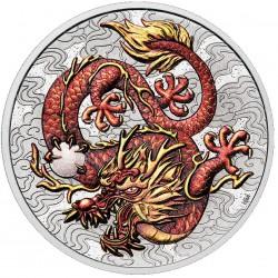 PM 1 oz silver RED DRAGON 2021 $1 bu CHINESE MYTHS & LEGENDS