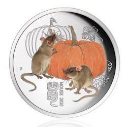 PM 1/4 oz silver MOUSE 2020 $0.25 Coloured Chinese Limited Edition