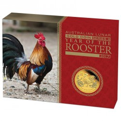 1/4 oz gold LUNAR ROOSTER 2017 PROOF