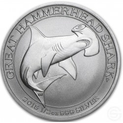 1/2 oz SILVER GREAT HAMMERHEAD SHARK 2015