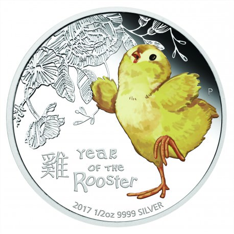 1/2 oz silver BABY ROOSTER 2017 Proof Box + Coa