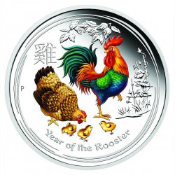 2 oz silver ROOSTER 2017 Colored