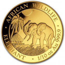 GOLD 1/10 oz ELEPHANT 2017 SOMALIA