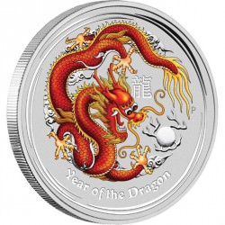 10 oz silver Lunar DRAGON 2012 RED