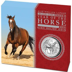 1oz silver LUNAR HORSE 2014 High Relief BOX+COA